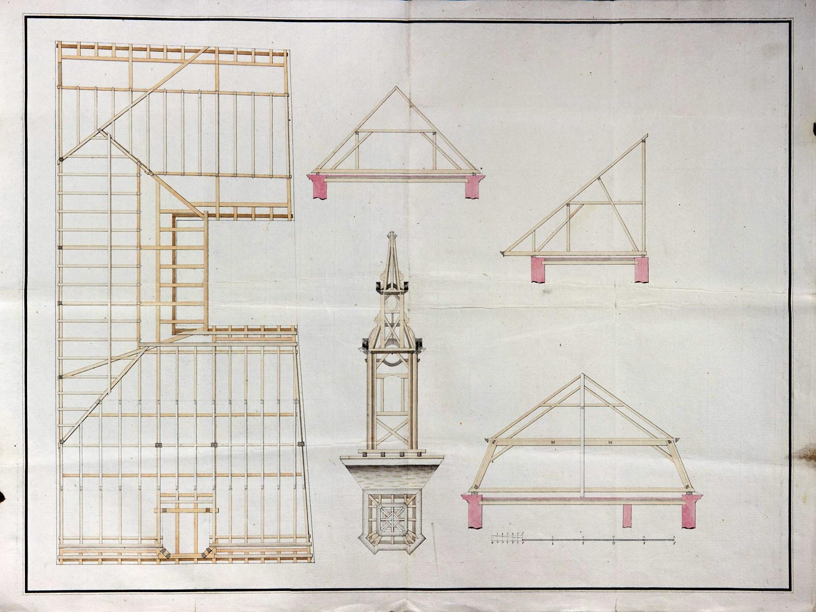 Konstrukce nového krovu.