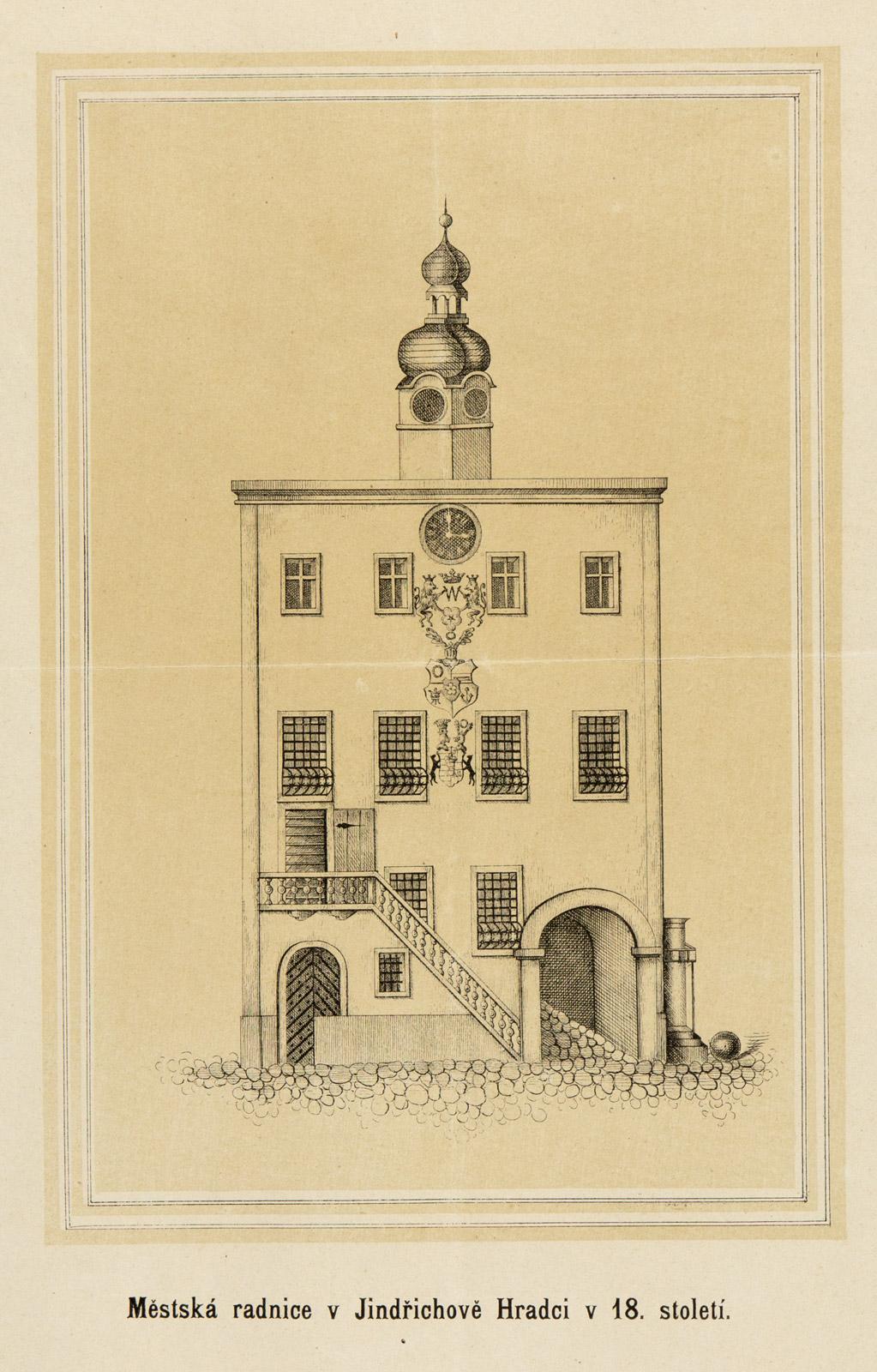 Renesanční podoba radnice po přestavbě z počátku 17. století je zachycena na rytině z 18. století.